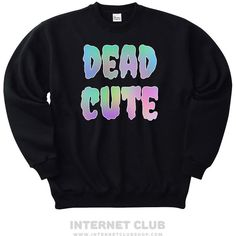 Dead Cute Pastel Goth Sweatshirt ($31) ❤ liked on Polyvore featuring tops, hoodies, sweatshirts, gothic tops, pastel goth sweatshirt, goth tops, pastel sweatshirt and blue top