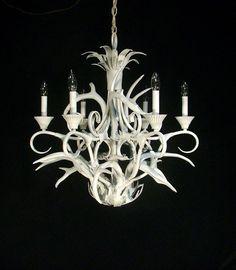 Superordinate antler chandelier 12 antlers by jason miller roll custom rustic shabby white deerbuck antler chandelier ceiling light fixture mozeypictures Image collections