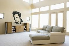Elvis Presley Wall Sticker. Adorn your walls with a wall art of all time favorite, the king, Elvis Presley and show your respect towards his ingeniousness. Make it the perfect backdrop of your living area, studio or office. http://walliv.com/the-king-wall-sticker-wall-art-decal