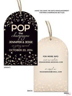 Save the Date Hang Tag for Mini Champagne Bottle | How To Create Your Wedding Brand - From Start to Finish