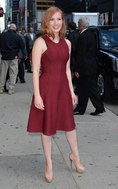 Jessica Chastain Photos Photos: The Cast of 'Crimson Peak' Appears on 'The Late Show With Stephen Colbert' Perfect Redhead, Crimson Peak, Stephen Colbert, Jessica Chastain, Awards, It Cast, Celebs, Beauty, Dresses