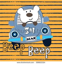 cute white teddy bear with car on striped background, T-shirt design vector illustration