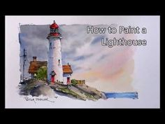 How to paint a Lighthouse Line and Wash Watercolor in Real-time. Beginner lesson. Peter Sheeler - YouTube