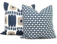 Schumacher Betwixt in Indigo Decorative Pillow Cover by PopOColor