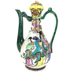 Chinese Tea Pot Mandarin Figures Porcelain ($75) ❤ liked on Polyvore featuring home, kitchen & dining, teapots, coffee & tea sets, porcelain tea pot, chinese tea set, chinese porcelain tea set, chinese teapot and chinese tea pot