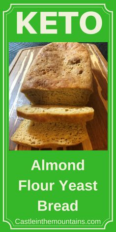 Keto Almond Flour Yeast Bread Recipe Delicious almond flavor without all of that eggy business that permeates so many Ketogenic breads. Contains Gluten. Keto Pasta Recipe, Easy Keto Bread Recipe, Bread Maker Recipes, Best Keto Bread, Yeast Bread Recipes, Lowest Carb Bread Recipe, Low Carb Bread, Easy Cake Recipes, Keto Recipes