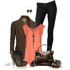 """""""Coral, Black and Brown"""" by chloe-813 on Polyvore"""