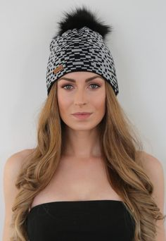 Rectangle Pattern Beanie with Faux Fur PomPom