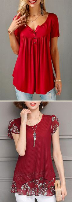 Short sleeve red tops for ladies. FREE SHIPPING...$5 off over $55, check them out.