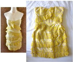 CYNTHIA STEFFE Yellow Beige Abstract Print Pleated 'SAM' Strapless Dress 6 S
