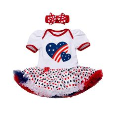 >> Click to Buy << 4th of July American Flag Outfits Baby Girls Romper Toddler Tutu Cake Dress Cartoon Printed Stars Stripes + Bow-knot Headband #Affiliate