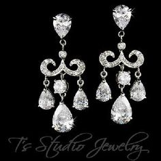 Gorgeous Chandelier Style Crystal Drop Bridal Earrings from T's Studio Jewelry - http://tstudiojewelry.com