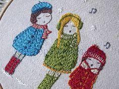 carol singers hand embroidery pattern PDF von LiliPopo auf Etsy