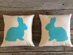 Robin Egg Blue Burlap Rabbit Pillow Easter Pillow by SimplyMarilee, $32.00