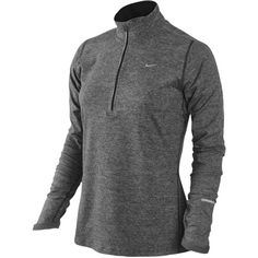 Nike Dri-FIT Element 1/2 Zip Top Women's (160 BRL) ❤ liked on Polyvore featuring activewear, activewear tops, nike sportswear, nike and nike activewear