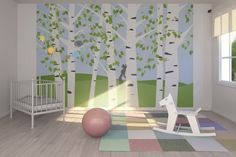 NUrsery Room with Birch Forest Spring Mural - Wallpaper Mural . Kids Wall Murals, Nursery Wall Murals, Nursery Room, Girl Nursery, Nursery Ideas, Room Ideas, Church Nursery Decor, Forest Mural, Fantasy Bedroom