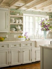 French Cottage Kitchen Inspiration - love this soft, sage green on the bead board walls