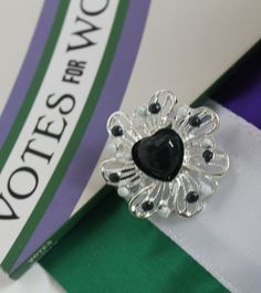 Give Women The Vote. Suffragette, Costume Jewelry, Heart Shapes, Centre, Sapphire, Wedding Rings, Brooch, Hand Painted, Engagement Rings