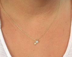Gold necklace, dainty necklace, unique necklace, cubic zirconia necklace, delicate necklace 4403