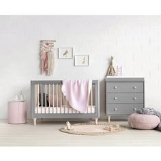 Babyletto - Lolly Cot - Grey & Washed Natural   Design Kids Australia