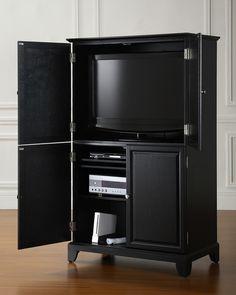 Crosley Alexander Entertainment/Office Armoire In Black   KF12001CBK