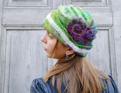 Green  hand felted hat decorated with cotton lace and by filcAlki, $69.00