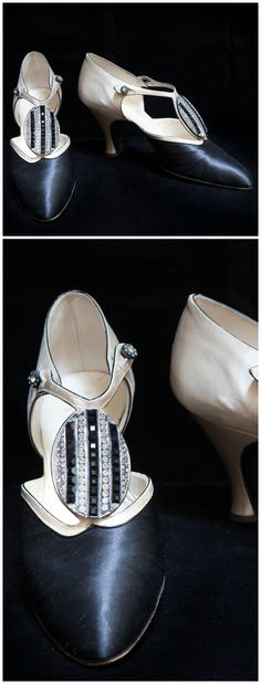Pair of black and cream silk T-strap shoes with oval ornament with rhinestones and French jet. Perugia, Paris. 1920s. Worn by Hortense Acton. © New York University, Acton Collection, Villa La Pietra, Florence. See: http://vlpcollections.org/transatlantic/saletta/