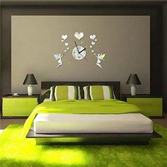 18H Modern Style Love Fairy 3D DIY Acrylic Mirror Wall Clock * Check this awesome image  : home diy wall