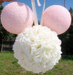 Mickey Minnie Mouse Disney Rose Kissing Ball Pomander Flower Wedding Decoration. $35.00, via Etsy.