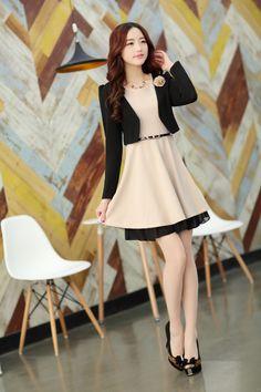 Elegant Costume Dress Sleeveless Short Jacket Lace Belt YRB2104