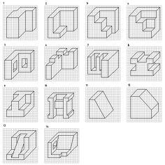 Varias piezas dibujadas en perspectiva caballera
