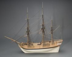 The London (model) three-masted square-rigged ship built New York 1770/1771 for English owners.  Measuring 92½ feet long by 26½ feet in beam, the vessel was known as a well-built, fast-sailing merchant vessel with good cargo capacity for its size.  In 1776, it was purchased by the British Royal Navy as an armed ship, renamed the Grasshopper and used as a convoy escort protecting groups of British ships against their enemies.