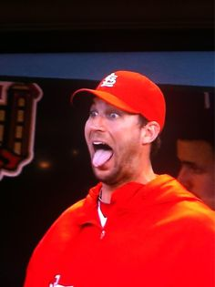 Waino was definitely thrilled with Lance Lynn's hit!...<3 this man!!!!  6-03-13