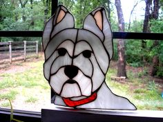 LT Stained glass white West Highland Terrier sun catcher light catcher dog with red collar Westie