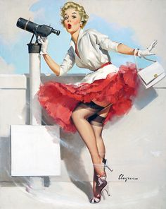There's much to observe! #pinup #girl #vintage #art