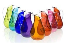 coloured glass pitchers..