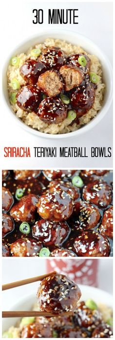 Healthy 30 Minute Sriracha Teriyaki Meatball Bowls - SO amazing! This quick and easy dinner is packed with delicious flavor! A must make! Click through for recipe!