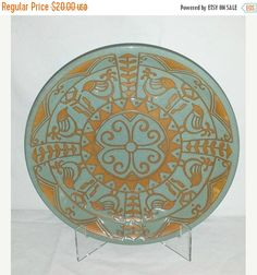 Vintage Pottery Plate,Bird Plate,Terra Cotta Plate,Folk Art Plate,Turquoise Pottery,Mint,Aqua,Aztec,Charger Plate,BOHO,Bohemian,Moroccan