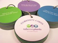 "Curiosity Cards by Rebecca Plants LLC. $14.95. Sparks conversation and learning between adult and child. Set of 50 durable circular cards, each 3"" in diameter. Perfect for ages 3 - 12. Fastened on a ring to take with you wherever you go. Each card contains an open-ended question. Developed by Rebecca P. Cohen, author of 15 Minutes Outside: 365 Ways to Get Out of the House and Connect with Your Kids, Curiosity Cards make the most of time together with the children in your life...."