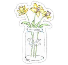 """Mason Jar Daffodil Flowers"" Stickers by Jamie Maher | Redbubble"