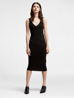 Jersey V-Neck Dress, BLACK