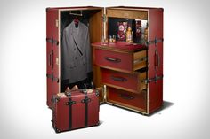 Sometimes it's not enough to travel with just your clothes. Sometimes you need to bring some refreshments along too. The Globe-Trotter x Chivas Steamer Trunk lets you do both in grand style. The interior of the trunk has dedicated compartments...