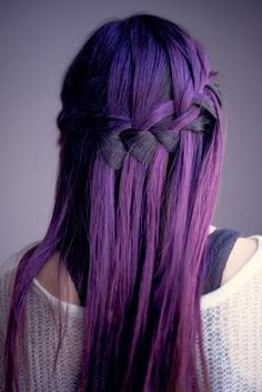 Purple violet dark hair color ombre cascade braid long - could never find anywhere around where i live that would do this (purple) but this is so cool