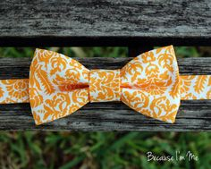 Boys Gorgeous Orange and White Floral Bow Tie, pre-tied and adjustable, bowtie in infant, toddler, child, preteen boy sizes