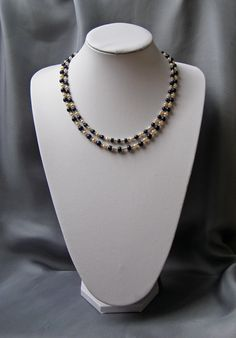 https://flic.kr/p/223r4xx | LUXURY SET - The necklace | Unique luxury set, two strings necklace, earrings and two bracelets made of natural sapphire, natural pearls and 925 silver (all decorative and technical accessories)