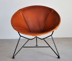 ROUND SADDLE LEATHER CHAIR - If there were no cats in the house this would be mine! = KAS