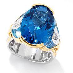 164-650 - Gems en Vogue Final Cut 12.20ctw Oval London Blue Topaz & Baguette Swiss Blue Topaz Ring