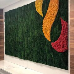 This logo wall was installed by Flowerbox Wall Gardens in the lobby of a healthcare building in North Carolina. The size is roughly 📏 and a variety of mosses were used to capture the company's true logo colors and passion for green. Moss Wall Art, Moss Art, Artificial Green Wall, Vertical Succulent Gardens, Cafe Wall, Bedroom Bed Design, Signage Design, Plant Wall, Traditional Decor