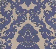 Pegasus (W6540-05) - Osborne & Little Wallpapers - A majestic winged horse motif has been used to create this classic damask design edged with a contrasting flash of colour.  Shown here in the metallic purple on taupe with black. Please request a sample for true colour match.