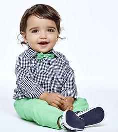 A dapper set for your little guy. Outfit includes bow tie, top, and pants. | The Children's Place